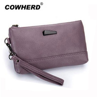 COWHERD Brand Fashion New Women Zipper Wallet W Hand Strap Top Layer Cow Leather Lady Card