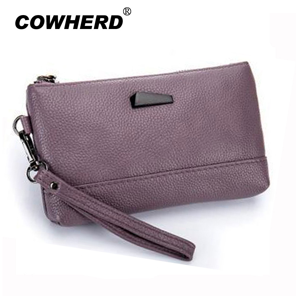 COWHERD brand fashion new women zipper wallet w/ hand strap Top layer cow leather lady card holder famale clutch bag coin purse double layer zipper wallet coin purse cell phone storage pouch bag w hand strap deep pink page 6