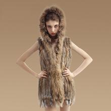 women natural 100% real rabbit fur knit vest waistcoat With Hood raccoon collar sleeveless Warm Natural Fur Long Gilet