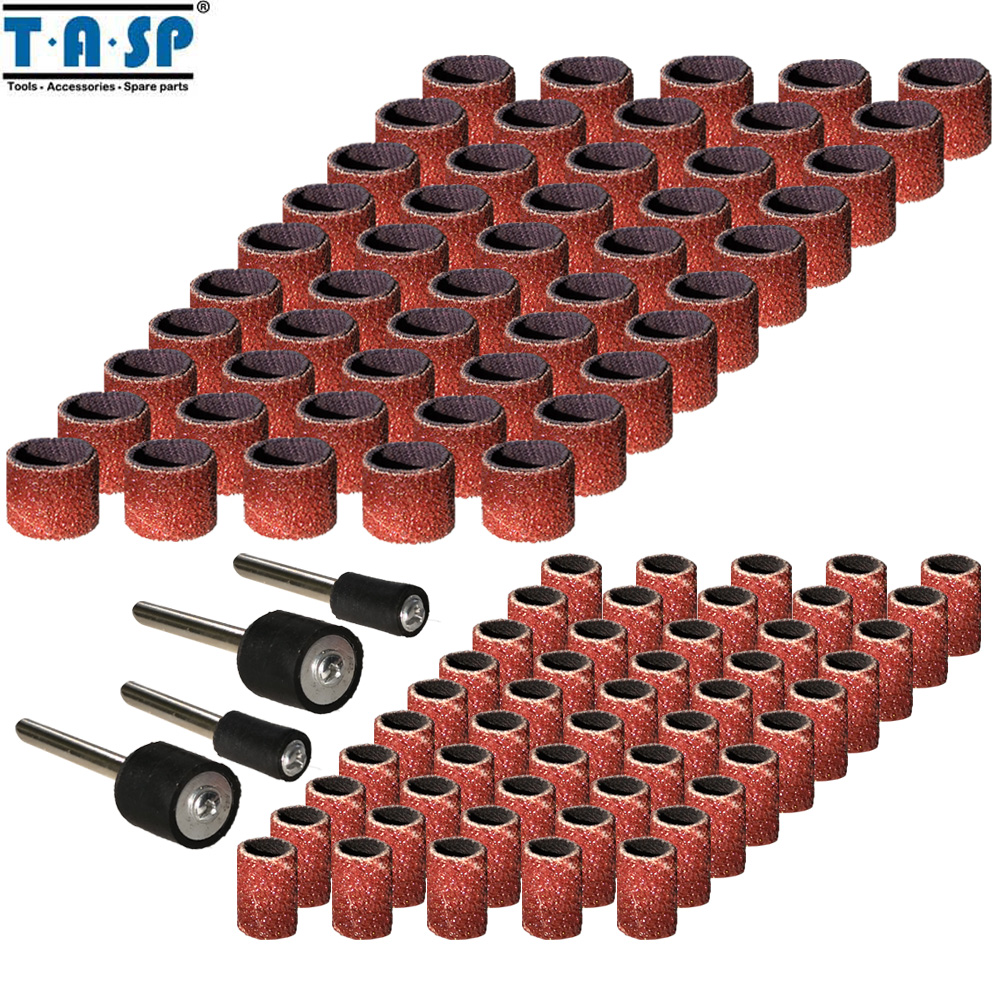 TASP 100pcs Abrasive Sanding Band Sleeve & Drum Kit Sandpaper Rotary Tools Accessories With Mandrels Grit 80/120/180