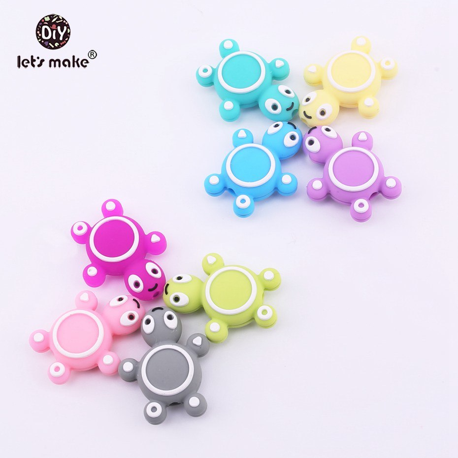 Let's Make 20pc Baby Teether Animal Shape Of Mini Tortoise Perle Silicone Turtle Beads DIY Sensory Activity Rattle Teething Toys