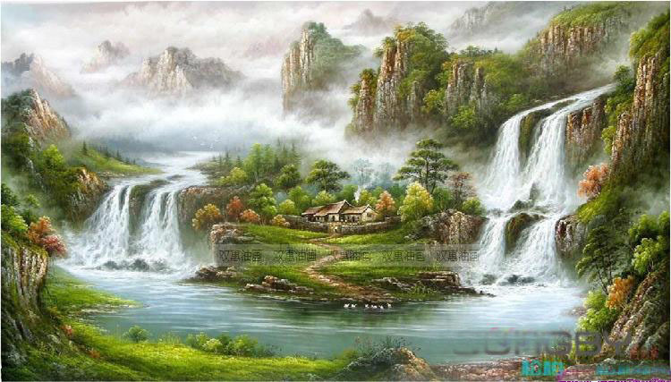 Waterfall Scenery oil painting designs Hot Selling Modern