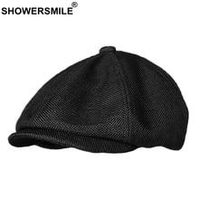 SHOWERSMILE Mens Octagonal Hats Cotton Linen Summer Newsboy Cap Male Black Solid Vintage Breathable Duckbill Brand And Caps