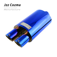 JZZ Universal 2.5'' Car Transition Double Tips Purple Exhaust Tips Racing Performance Muffler For Auto Great Sport Sound