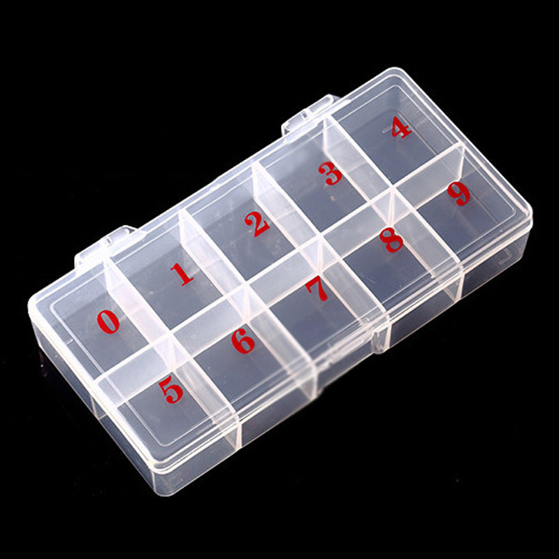 Shellhard High Quality Nail Storage Case Clear Plastic 10 Slots Empty Nail Art Tips Rhinestone Beads Storage Box