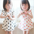 2015 New newborn baby girl dress Korean Fashion Love print chiffon dress Casual Vestidos baby girls Flying sleeve princess Dress