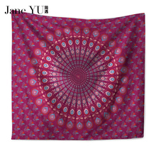 JaneYU Peacock Tapestry Home Textiles Indian Mandala Wall Hanging Bohemian Bedspread Hippie Sheet