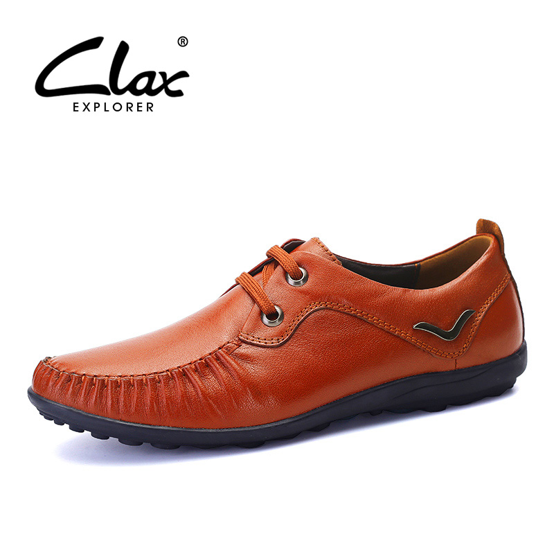 Clax Men Leather Derby Shoes 2017 Spring Summer Genuine Leather Shoes Male Designer Flats Casual Vintage Retro Footwear Classic male casual shoes soft footwear classic men working shoes flats good quality outdoor walking shoes aa20135