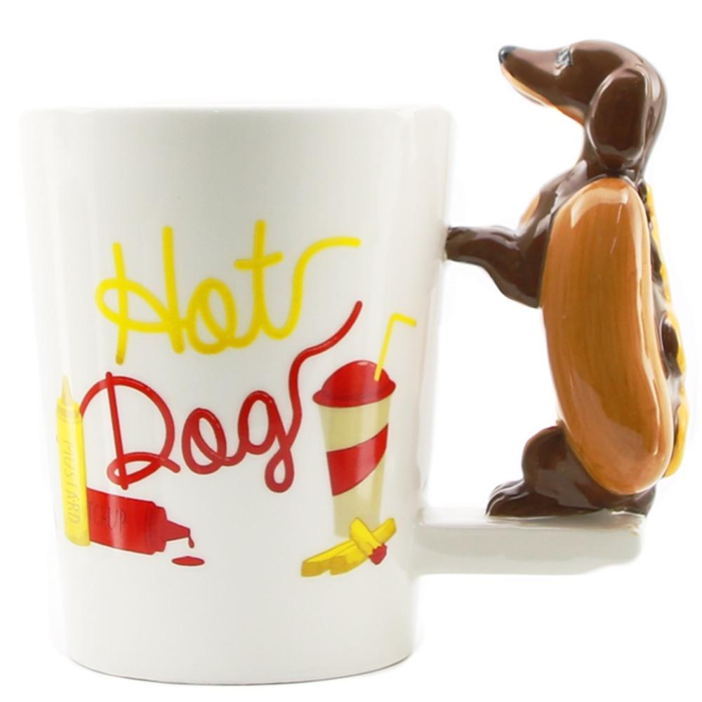 1 stück Dackel Wurst Haustier Hund Personalisierte Becher Einzigartige Wurst Hund Geschenk Lustige Schnelle Lebensmittel Wurst Welpen Bassotto Becher Tasse