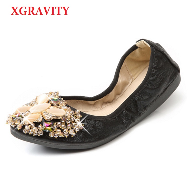 XGRAVITY 2018 Crystal Flats Ballet Flat Shoes Rhinestone Women Spring Autumn Butterfly Pointed Toe Golden Shoes Loafers C227 2017 spring summer new women casual pointed toe loafers flats ballet ballerina flat shoes plus size 34 43