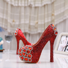 New 2017 High Fashion Red Rhinestone Pumps Women's Party Shoes Bridal Wedding Dress Shoes Crystal High Heels Lady Prom Shoes