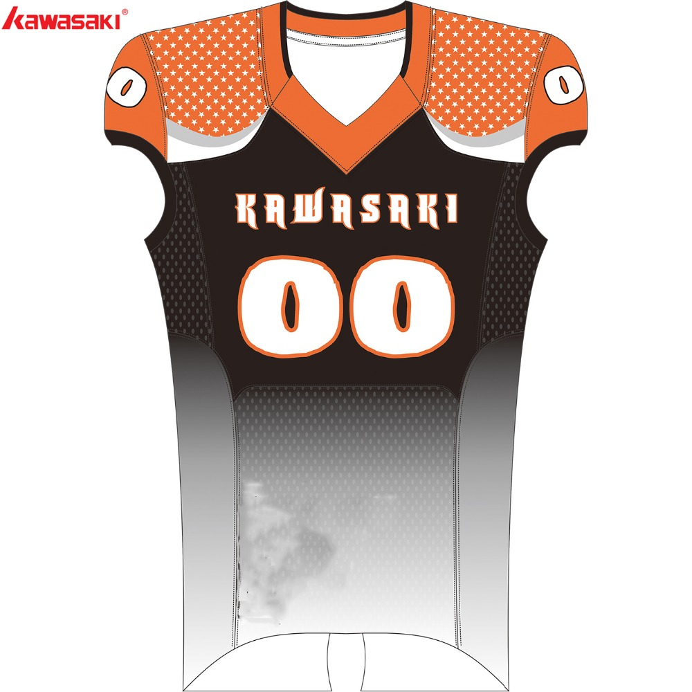 3e249d113 Kawasaki Brand Sublimated American Football Top Jersey Men Custom USA  Collage Football Team Wear Shirt Jersey And Pants 001