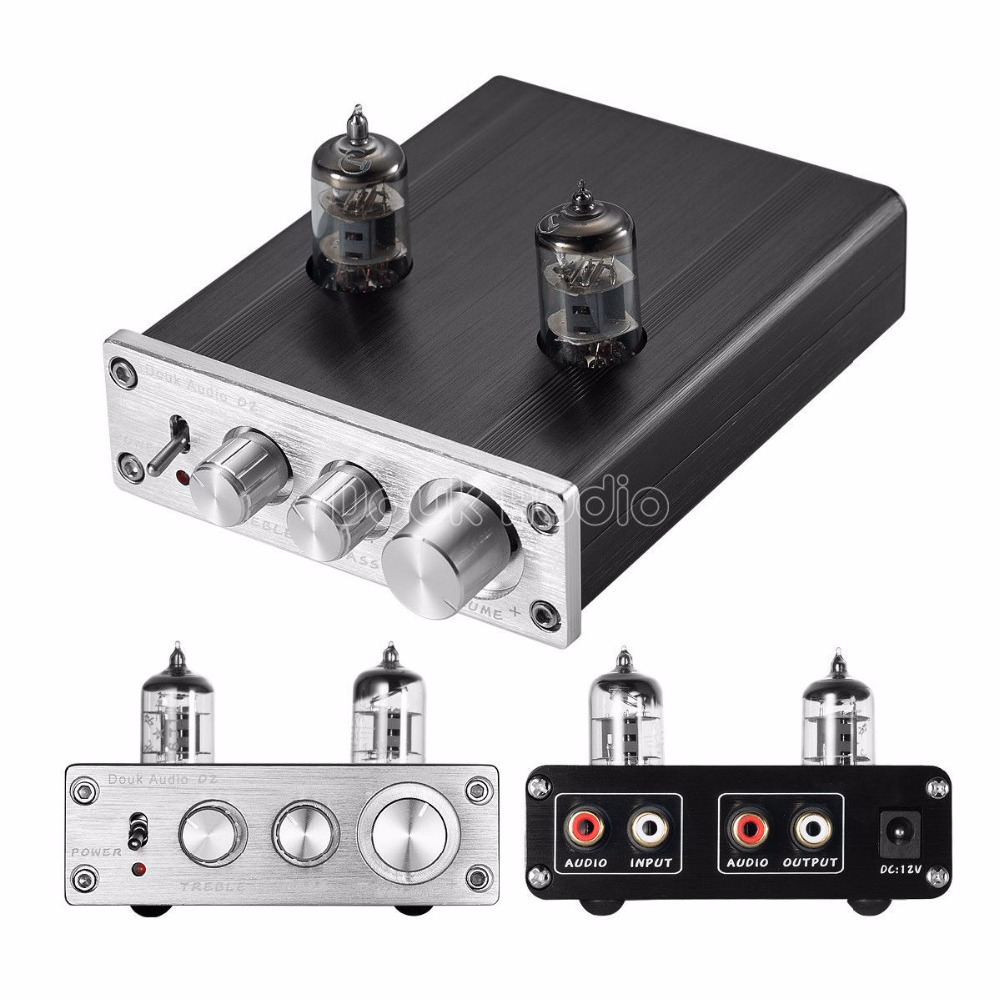 Douk Audio 6J1 Vacuum Tube Preamplifier HiFi Stereo Digital Pre-Amp Treble&Bass douk audio 6h3n vacuum tube preamplifier hifi buffer pre amp matisse circuit new page 9