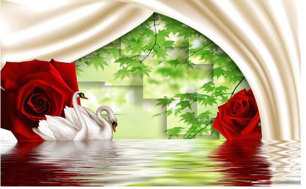 New Large Wallpaper Custom Wallpaper Red Roses Swan Romantic Scenery