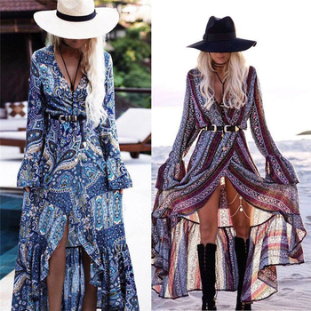 Women Summer Dress Boho Style Women Long Maxi Evening Party Dress Sexy Vintage Floral V Neck High Split Beach Dresses Sundress women short sleeve long dress summer ethnic style digital print maxi dresses girls loose split beach sundress vestidos