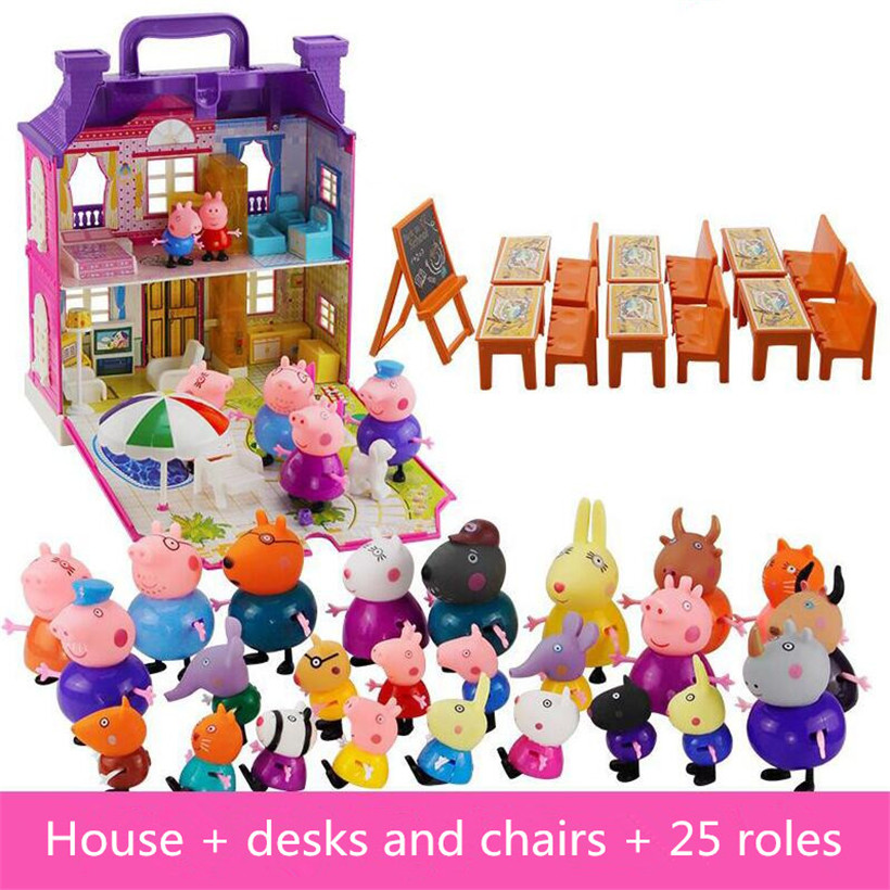 Peppa Pig Toys Fashion Family For Kid Full Range Of Roles Figure Original A Variety  Short Plush And Peppa Friends Doll Car Toys