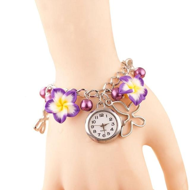 2016 Exquisite Pendant Bracelet Watches Women Dress with Charms Faux Pearl Wrist