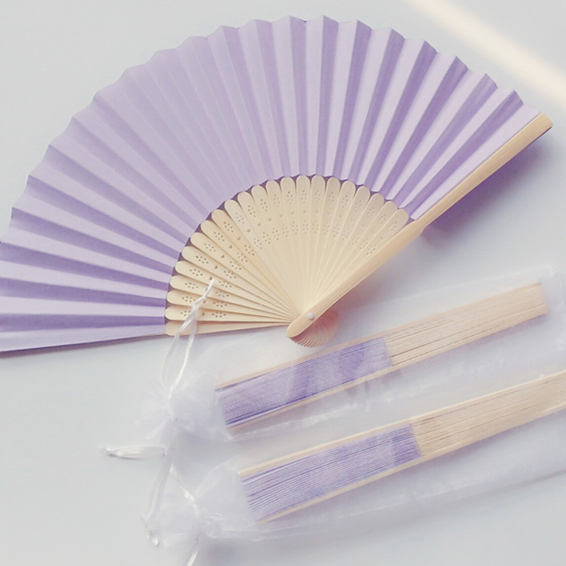 50Pcs Personalized Purple Paper Fan For Wedding Bridal Party Favors Unique Wedding Souvenir Gift For Guests
