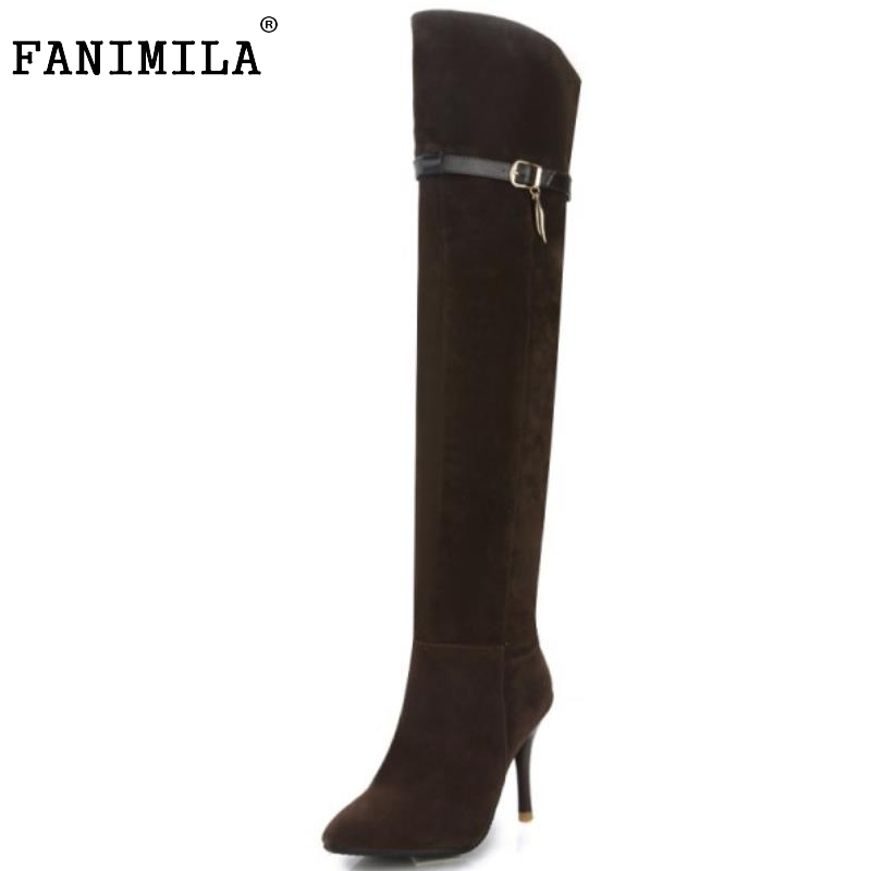 Women Fashion Pointed Toe Over The Knee Boots Sexy Thin High Heel Shoes Woman Brand Buckle Strap Zipper Botas Size 34-43 hot fashion spring over the knee boots sweet buckle denim women boots sexy pointed toe thin high heels shoes woman zapatos mujer