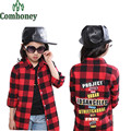 Girls Plaid Shirts School Girl Blouse Children Long Sleeve Cartoon Blouse for Girls Kids Spring Autumn Long Section Outerwear