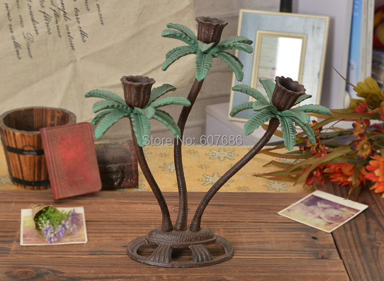 Rustic cast iron 3 light palm tree candle holders candlesticks metal hawaii accents home party Home goods palm beach gardens