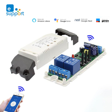 Ewelink Smart Switch 2 Kanaals Wifi Relais Roldeur Schakelaar DC5V 12V 24V 32V 220 V Motor gordijn Switch Tippen Zelfsluitende
