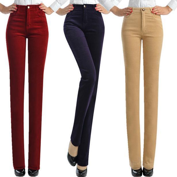 Venta caliente de otoño e invierno recta pantalones de Pana de terciopelo pantalones más tamaño 7xl jwomen cintura elástica pantalones de las mujeres