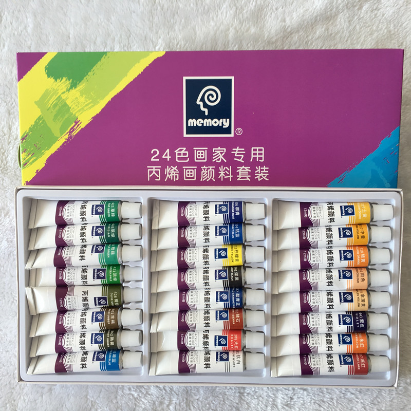 24pcs Drawing Paint Acrylic Paint Tube Set Nail Art Painting Drawing