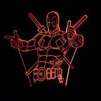 7 Color Changing Hero Deadpool 3D Light LED Sleep Night Light USB Decor Table Lamp Bedroom