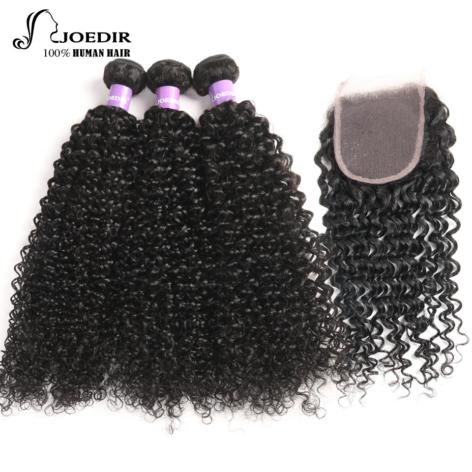 JOEDIR Brazilia Hair Curly Weave Human Hair With Closure Free Part Brazilian Hair Weave Bundles Swiss Lace Human Hair 4 Bundles