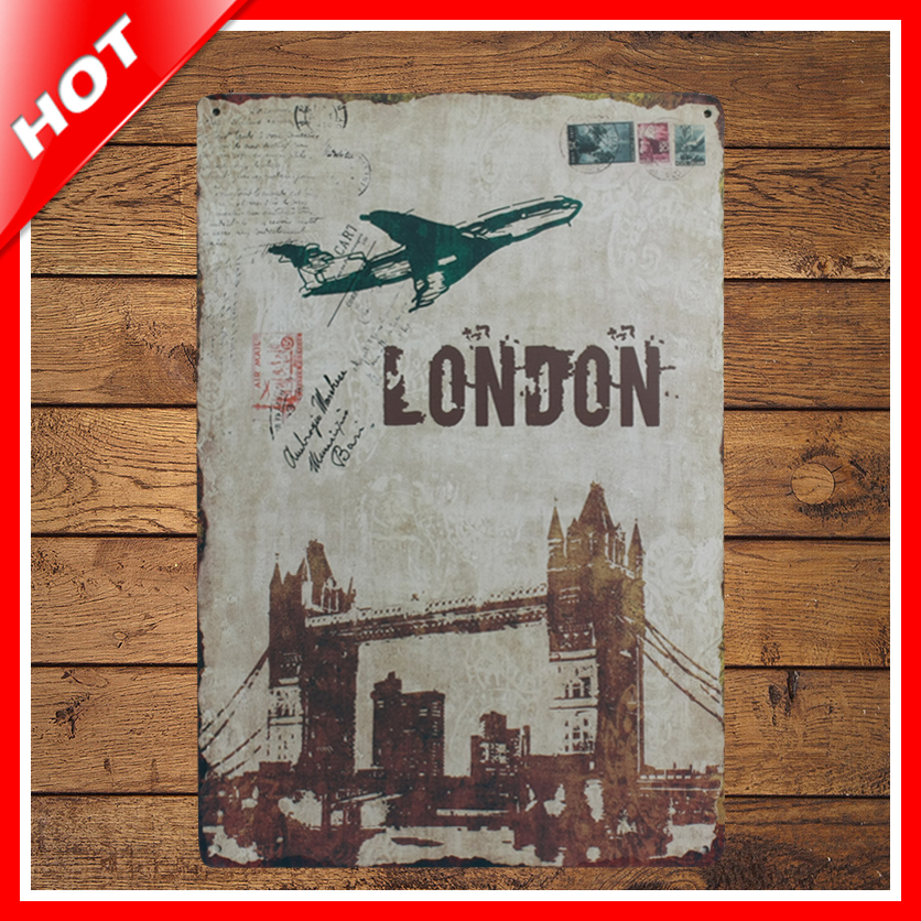 [ IDEA ]^_^20*30cm London Vintage Metal Signs Home Decor Vintage Tin Signs Pub Vintage Decorative Plates Metal Wall Art