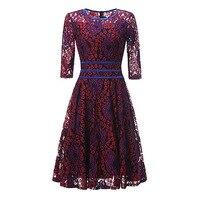 Sisjuly 1950s Vintage Three Quarter Sleeve Dresses Summer Red Mid Calf Patchwork Elegant Party Dress Retro