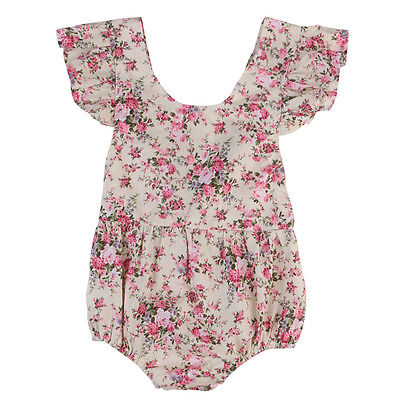 Newborn Infant Baby Girl Backless Floral Ruffles Sleeve Romper Jumpsuit Outfit Playsuit Summer Girls Clothes