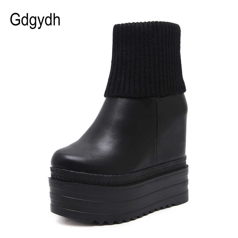 866d9fa9798 Gdgydh Fashion Winter Ankle Boots Women Heel Leather PU Increasing Flat  Heels Casual Shoes Wedges Platform Women Autumn Boots