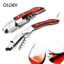 OLOEY Wooden Handle Wine Bottle Opener Multi-Function Profssional Beer Openers Crokscrw Tool Portable Bar Kitchen