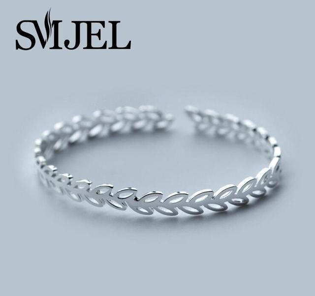 SMJEL  NEW Accessories Jewelry Boho Leaves Cuff Bangles Adjustable Leaf Women Bracelet Bangles Femme Party Gifts SYSZ010
