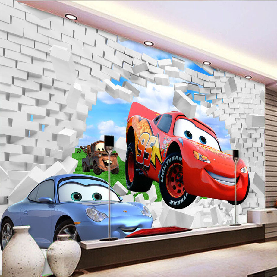 online get cheap custom printed wallpaper aliexpress com custom printed wallpaper 3d stereoscopic cartoon car wall breaching children s room bedroom photo wallpaper mural de