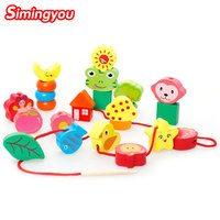 Simingyou Wooden Puzzle Beads Colorful Learning Kids Gift Educational Montessori Children Toys B40 DX30 Drop Shipping