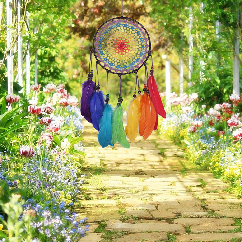 Colorful Life Manual Woven Crochet Feather Dream Catcher Wall Hanging Home Decoration Gifts Birthday