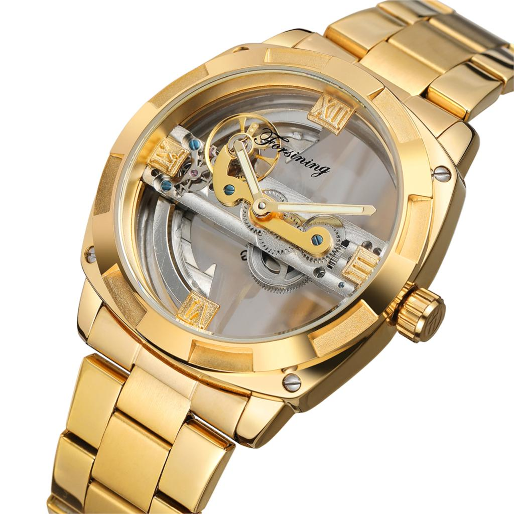 Forsining Gold Automatic Watch Men Clock Skeleton Watches Mechanical Military Watch Men full Steel Stainless Band Luxury top luxury sewor big automatic military watch men gift gold stainless steel diamond skeleton clock mechanical mens wrist watches