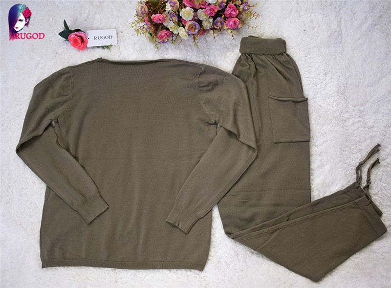 17 Hot 2 Pieces Set Women V-Neck Sexy Knitted two pieces sets Spring Suits Tracksuit Sweater top+ Pants Set Womens Casual Suit 39