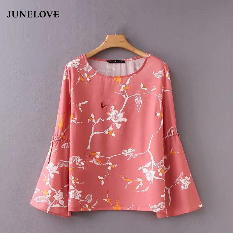 2019 das mulheres do vintage o pescoço floral imprimir casual fino elegante chique blusa camisa feminina manga alargamento bowknot marca blusas