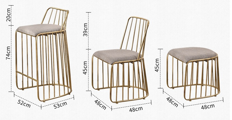 Cadeira Lateral Fio de Metal Acabamento Em Ouro com Encosto/Bar Contador de Alta Fezes Encosto Baixo/Low Stool - 6