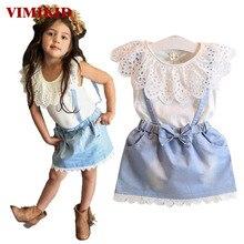 VIMIKID 2017 Nouveau Filles Vêtements Set Minnie dot court Dessin Animé t-shirt + culottes pantalon enfants de vêtements enfants livraison gratuite