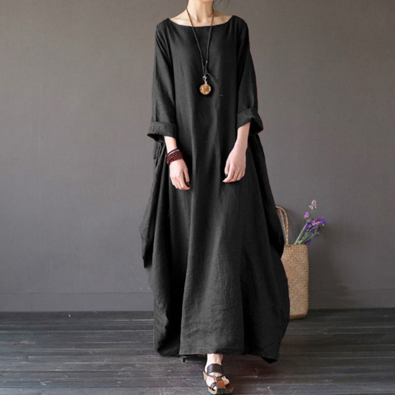 Women Casual Loose Crew Neck Solid Cotton Baggy Oversized Long Maxi Dress