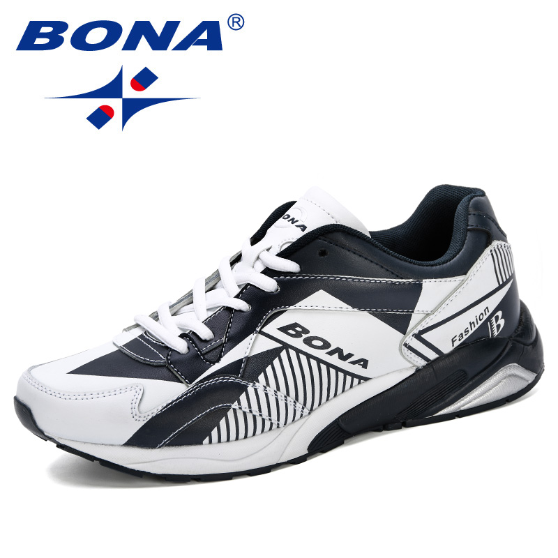 BONA 2019 New Designer Men Running Shoes Leather Sneakers Men Autumn Shoes Chaussures Hommes Zapatos Outdoor