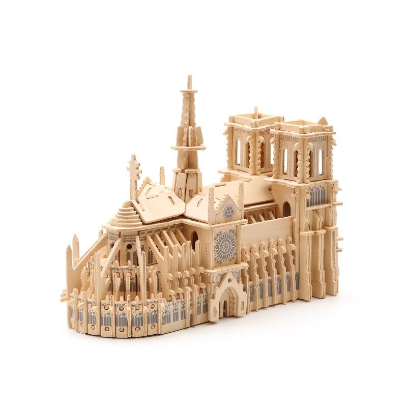 Bois Puzzle En Bois BRICOLAGE Artisanat Enfants Puzzle En Trois Dimensions de Jouet Modèle 3D En Bois Main-fait Notre Dame de Paris
