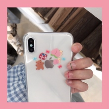 Korea INS cute animal bear peach phone case For iphone Xs MAX XR X 6 6s 7 8 plus cartoon funny pattern clear soft TPU Back Cover