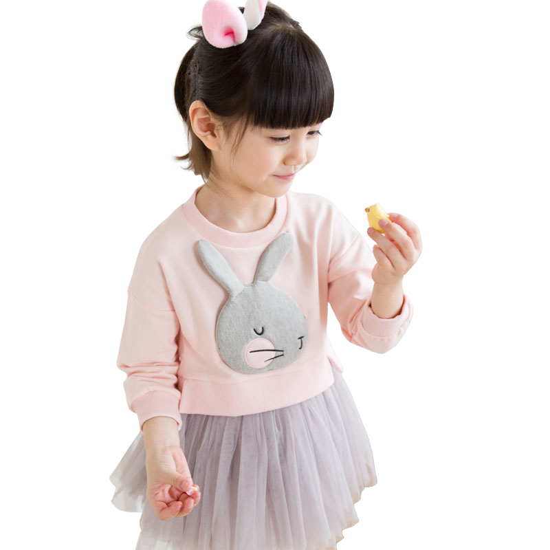 Lovely Cute 3D Rabbit Child 2-8yrs Baby Girl Cotton Dress Korean Long Sleeve spring Sweet Kids Children Clothing Pink/ Grey/ Red trousselier музыкальная шкатулка little grey rabbit© rabbit trousselier grey pink