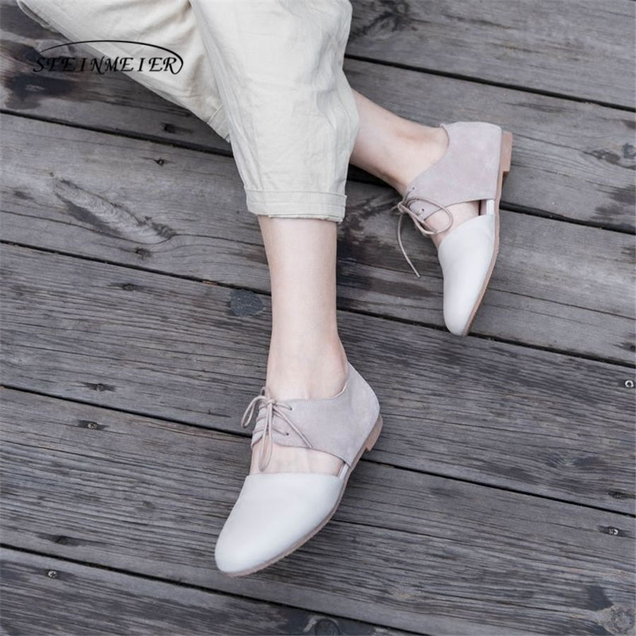 Women square toe flat laofers shoes handmade grey beige vintage Retro leather casual buckle comfortable loafer